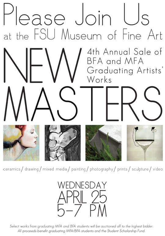 4th Annual New Masters: MFA/BFA Graduating Artists' Work Sale is April 25th