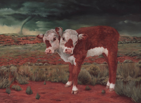 BRANDICE GUERRA, Two-Headed Hereford (Alva, Oklahoma), oil on panel, 12 x 9 inches