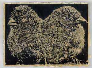 Two Birds with One Stone, Emily Sullivan Smith, relief print, gold leaf