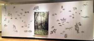 Runoff Verdure [and details below], 2014, jacquard digitally woven photo tapestry and fiber-based drawing installation, dimensions adaptable, approximately 9 x 24 feet.