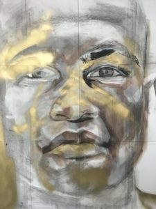 """Mikaela Sheltd's mixed media portrait Alvin I from """"Honest Visions: Artists and Autism."""""""
