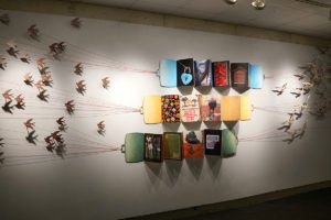 """Molly Reilly's installation Tether from the Book Art exhibition """"Conspire: Collaboration, Cooperation, Collection."""""""