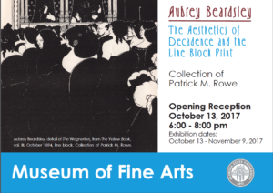 Beardsley Exhibition will close on Thursday, November 9