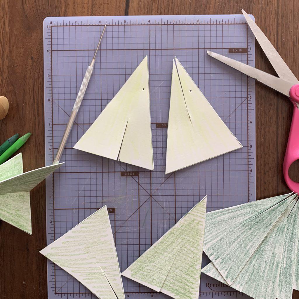 Cut slits in triangles