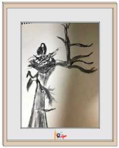 Charcoal drawing of a bird in a nest on a branch.