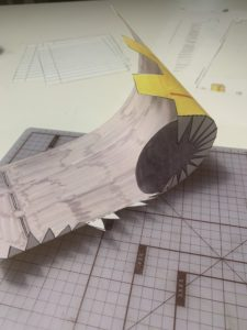 Process photo. Assembling a paper recycling can.
