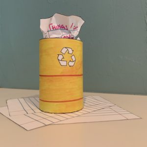 Yellow paper recycling container.