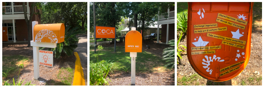 COCA's Inspiration Exchange mailbox is orange and bold. Inside you can take or leave art supplies to inspire others.