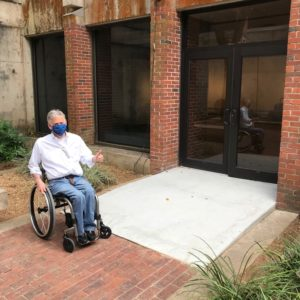 Max Lee testing out MoFA's new courtyard ramp.