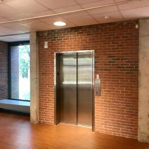 Photo of MoFA's refurbished upstairs elevator doors.