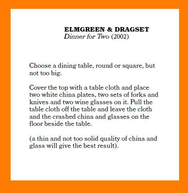 """""""Dinner for Two"""" Elmgreen & Dragset"""