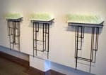 """Richard A. Herzog Looking Out/Looking In, vinyl, colored acrylic, steel, each unit 8"""" x 32"""" x 25"""""""
