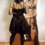 "Denise Stewart-Sanabria Karley and Aaron, charcoal on plywood, 72"" x 48"" x 36"""